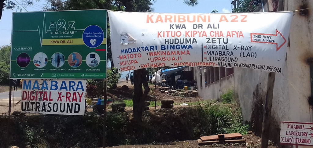 Signboards indicating location of the Health Facility