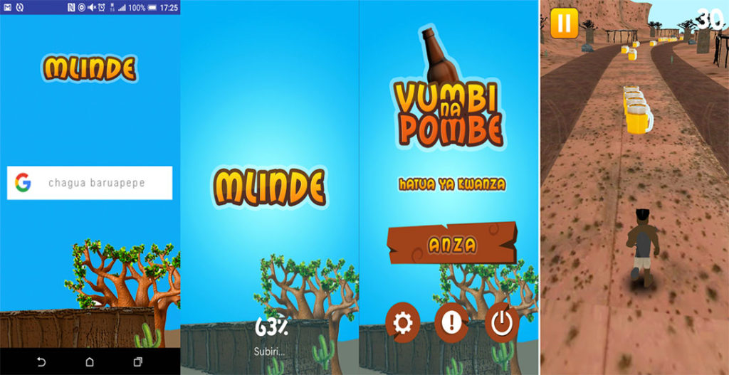 Screenshots showing the Mlinde Game Start Screens, Level 1and Level 1 Game Play