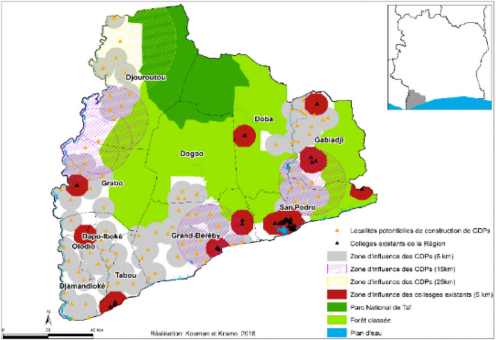 Identification of sites for local neighborhood colleges in Ivory Coast