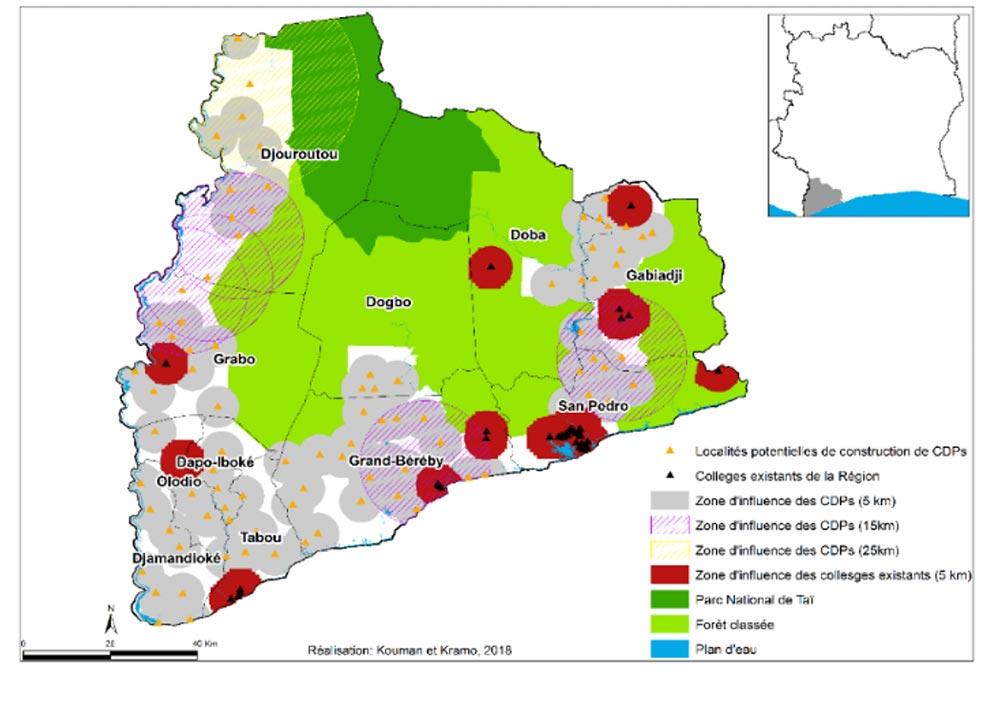 Figure 3 – Localités retenues pour la région de San-Pedro